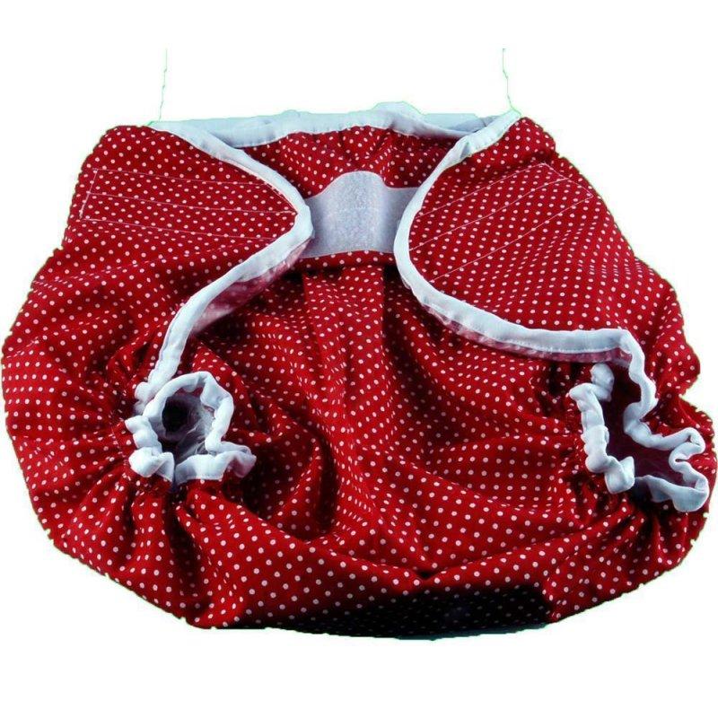 Windelgummihose aussen Rot mit Punkten ,  innen PVC