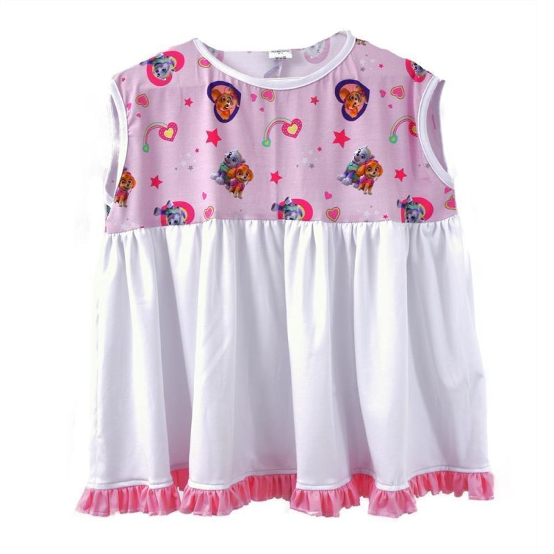 Colorful Lolita Jersy pink pendant dress with paws and puppies