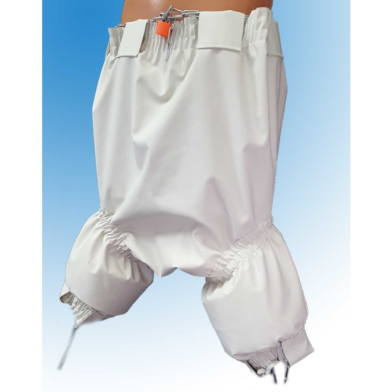 Strafhose Zeuz long by Big Kiddyfee Latex  0,5 weiss XXXXL