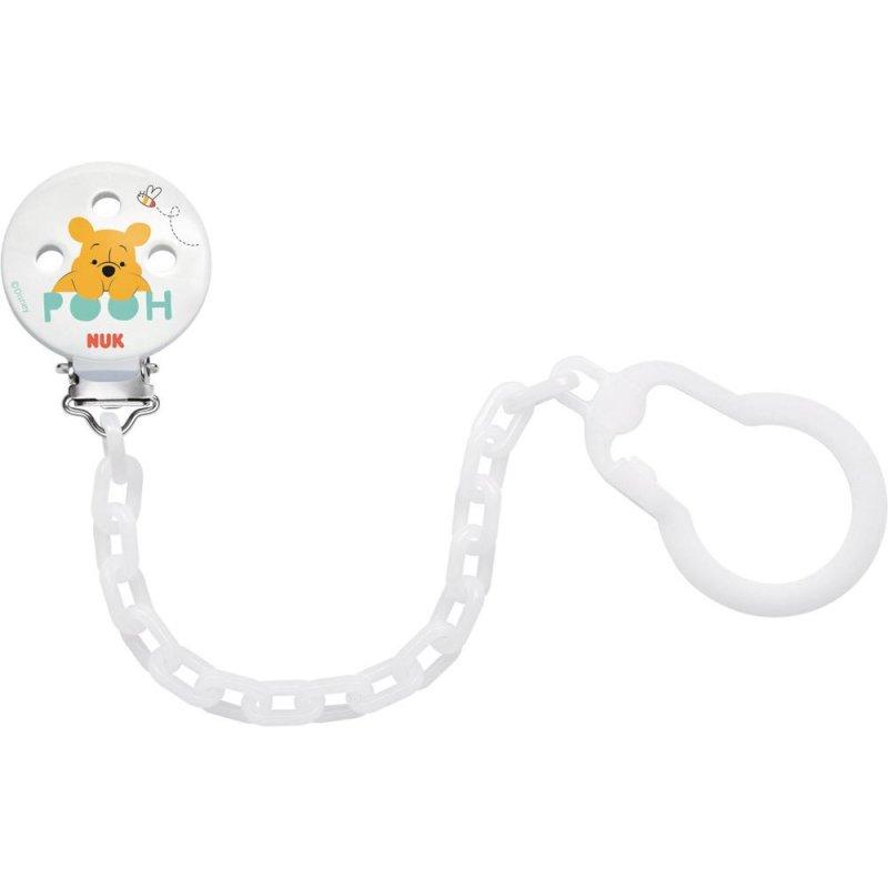 NUK Disney Winnie Schnullerkette, mit Clip zur sicheren Befestigung
