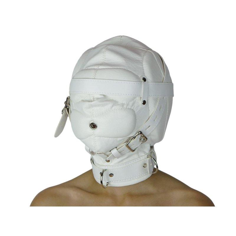 Maske ohne Augenlöcher weiß und abschließbar