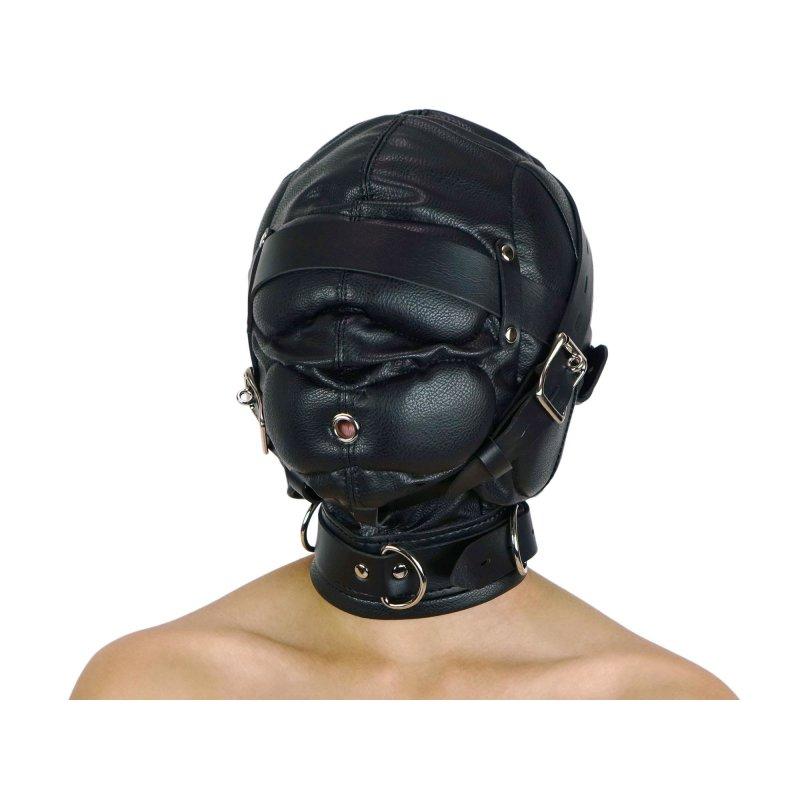 Maske ohne Augenlöcher schwarz  und abschließbar
