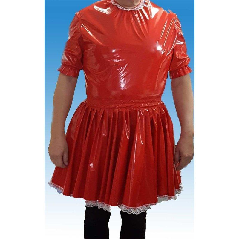 PVC Lackstoff Kleidchen Mandy mit süsser Spitze von Big Kiddyfee